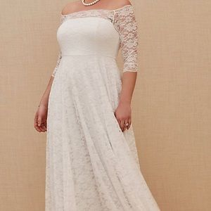 White lace off the shoulder A-line wedding dress.